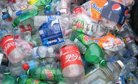 Discarded plastic soda bottles from major supplies