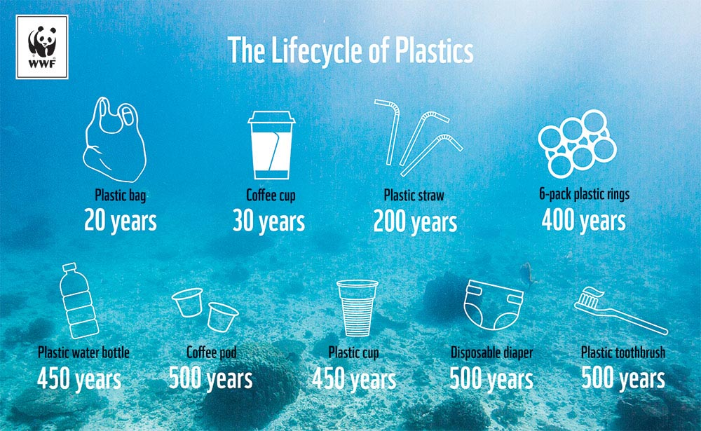 Graphic showing plastic product life in years to degrade