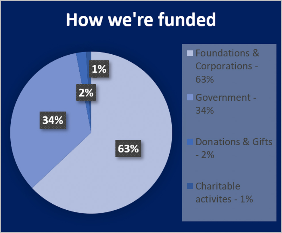 A pie chart showing the breakdown of where the Blue Ventures funding comes from.